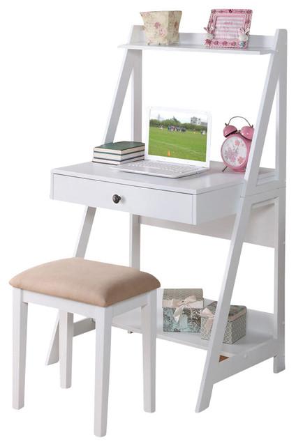 Storage Shelf Desk Set, White contemporary-kids-desks-and-desk-sets