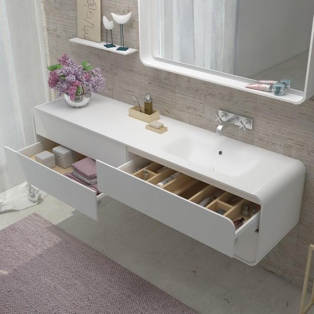 Oxirium White Bathroom Vanity Solid Surface Contemporary Bathroom Vanities And Sink