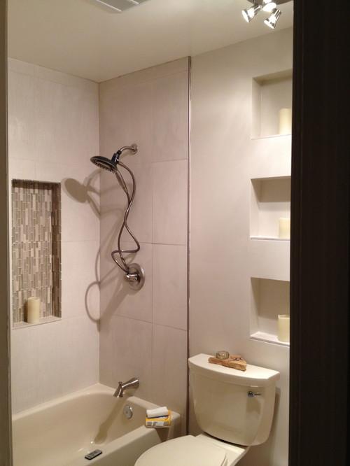 Stuck Mid Remodel Guest Bath Creme Almond Beige White