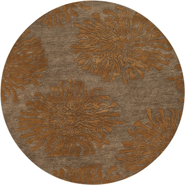 Contemporary bombay round 8 39 round sand brown burnt orange for Round contemporary area rugs