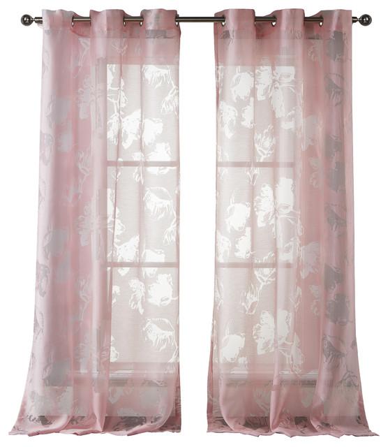 kensie aster burnout pair panel chrysanthemum modern. Black Bedroom Furniture Sets. Home Design Ideas
