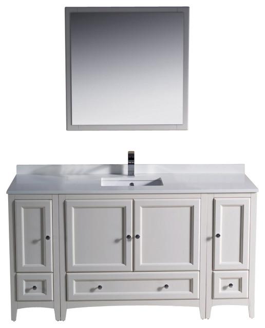 60 Inch Single Sink Bathroom Vanity In Antique White Antique White Traditional Bathroom