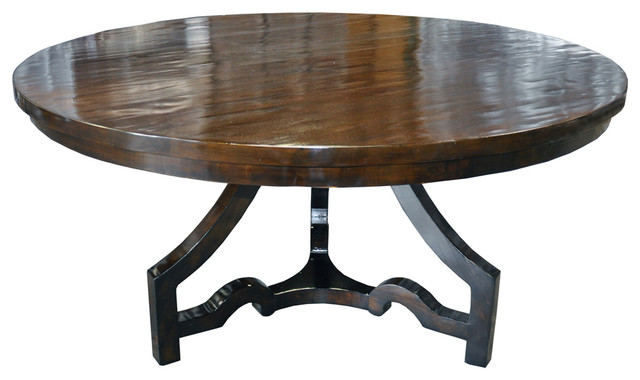 Leg Round Dining Table Distressed Brown Eclectic Dining Tables