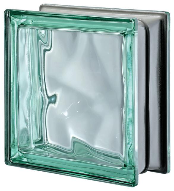 Pegasus Metalized Wavy Glass Block Contemporary Wall