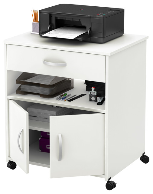South Shore Axess Printer Cart on Wheels, Pure White - Transitional - Office Carts And Stands ...