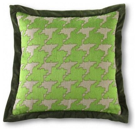 Small Green Decorative Pillow : Mr Brown Small Houndstooth Pillow-Green - Traditional - Decorative Pillows - by Candelabra