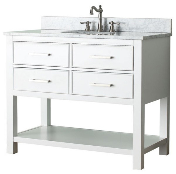 42 In Single Vanity In White Finish Contemporary Bathroom Vanities And Sink Consoles By
