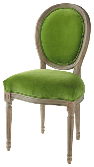 Chaise m daillon en velours et ch ne massif verte louis for Salle a manger verte