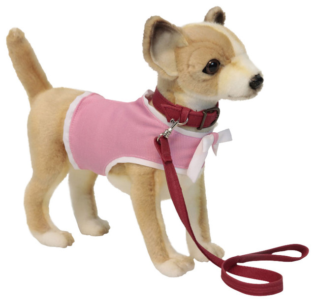 Hansa Chihuahua Dog With Pink Coat And Leash