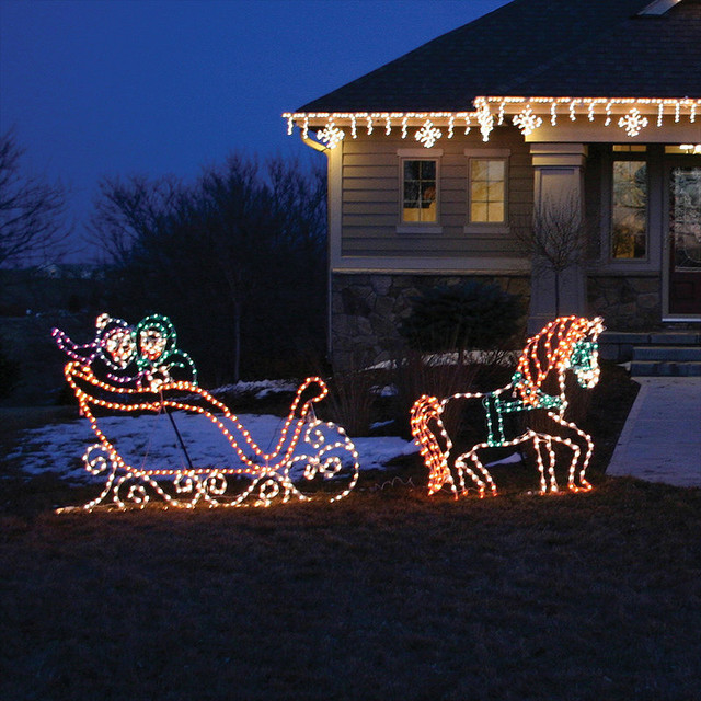Christmas Lighted Horse Carriage Outdoor Decoration : Lighted victorian horse and sleigh traditional outdoor