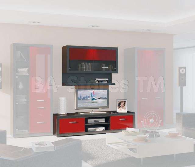Marsel Oak Ferrara 3 PC Wall Unit with Red Gloss Doors - Ace Decore - Modern - Media Storage ...