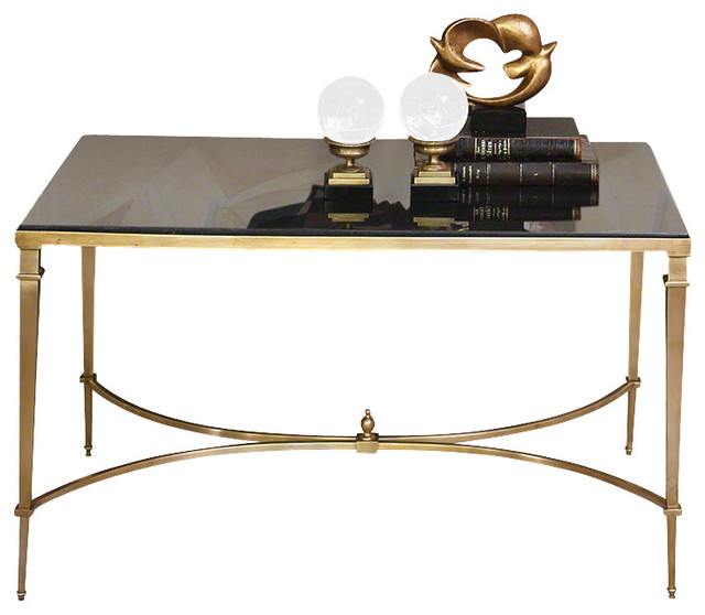 Global Views French Square Leg Table, Brass & Black