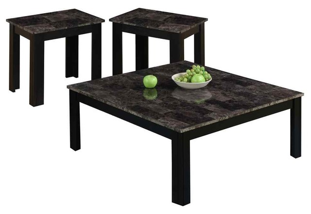 3 Pc Accent Square Table Set In Black Finish Contemporary Coffee Table Sets