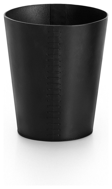 Modern black leather waste basket contemporary wastebaskets by modobath - Modern wastebasket ...