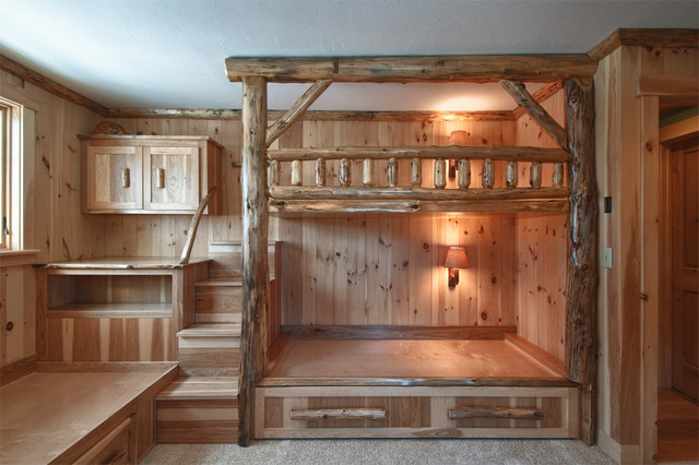 Log bunk bed room rustic boston by skiffington homes for Diy rustic bunk beds
