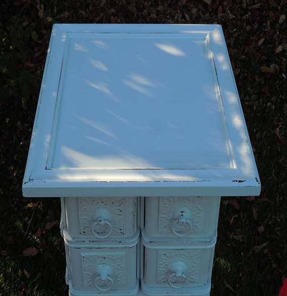 Shabby Chic Small Side Table with Drawers From Vintage Oak Sewing Machine - Farmhouse - Side ...