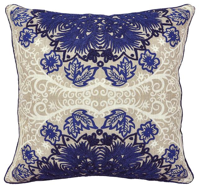 Sicarra Dark Blue Pillow - Transitional - Decorative Pillows - by Kosas