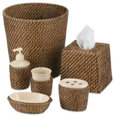 Avalon wicker waste basket contemporary wastebaskets for Bathroom accessories baskets