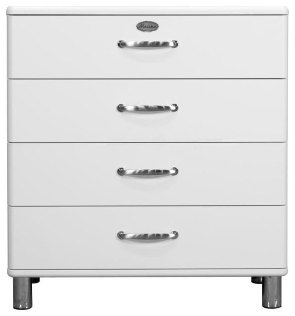 Malibu grande commode vintage 4 tiroirs blanche 86cm r tro commode fa - Grande commode blanche ...