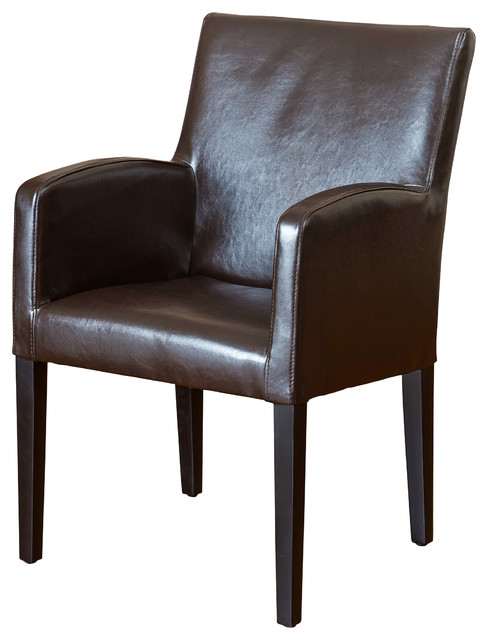 Byron brown leather arm chair contemporary dining chairs for Leather dining chairs with arms