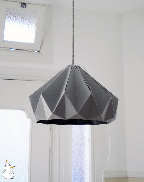 ... Paper Origami Lampshade, Grey, by Studio Snowpuppe modern-lamp-shades
