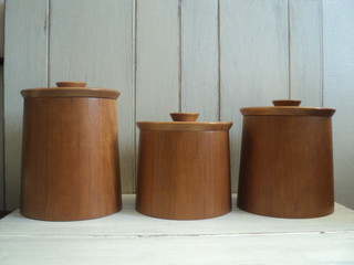 Set of teak canisters by valerie 39 s vintage home modern for Hearth and home designs canister set