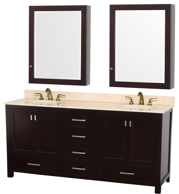 Abingdon espresso with medicine cabinet mirrors and undermount porcelain sinks transitional for Espresso bathroom medicine cabinet