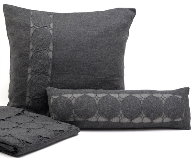 Throw Pillows Charcoal : Sefte Paya Charcoal Decorative Pillow - Modern - Decorative Pillows - by Layla Grayce
