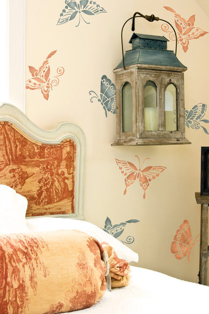 Chinoiserie butterflies furniture stencil asian wall stencils san diego by royal design - Oriental stencils for walls ...