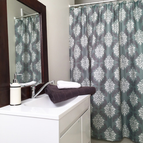 Damask Shower Curtain Set 12 Decorative Hooks Blue And Grey Contemporary