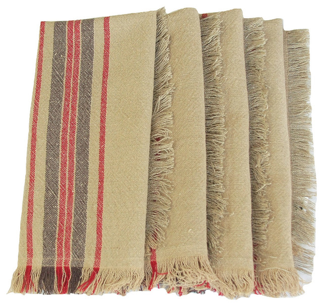 Farmhouse Kitchen Linens: Natural Linen Stripe Tea Towels, 14 By 22-Inch, Set Of 4