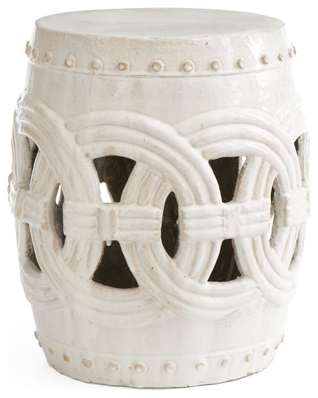 Interlocking Rings Stool White Traditional Accent And