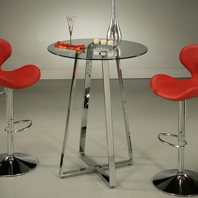 Pastel Nostalgia 36 Inch Round Glass Pub Table W Chrome
