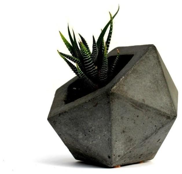 Geodesic Concrete Planter: Geodesic Planter, Dark Gray