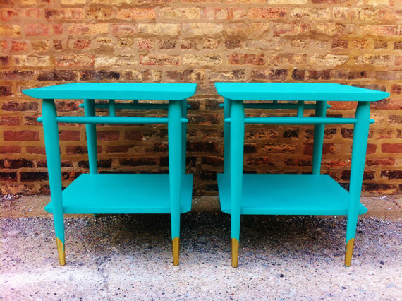Pair of mid century side tables in turquoise by mint home modern side