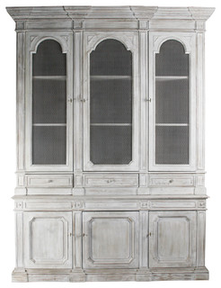 Heritage Antique White Mesh Front French Style Grand Display Cabinet - Traditional - Storage ...