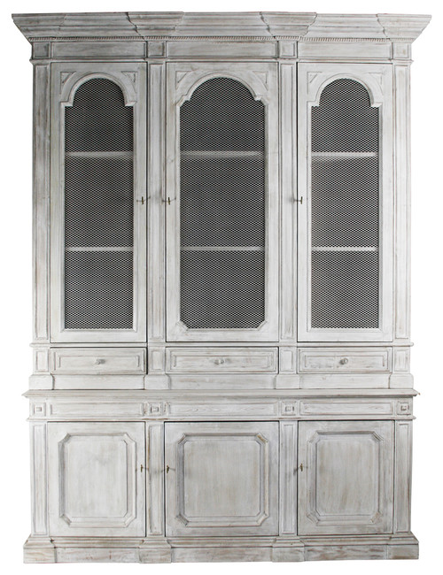 Heritage Antique White Mesh Front French Style Grand Display Cabinet
