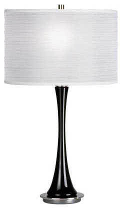 small table lamp base finish black shade color white modern table. Black Bedroom Furniture Sets. Home Design Ideas