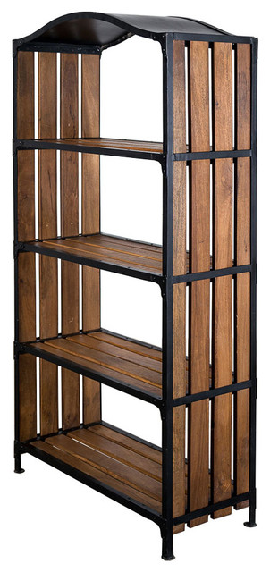 Industrial Curve Mango & Iron Bookcase modern-bookcases