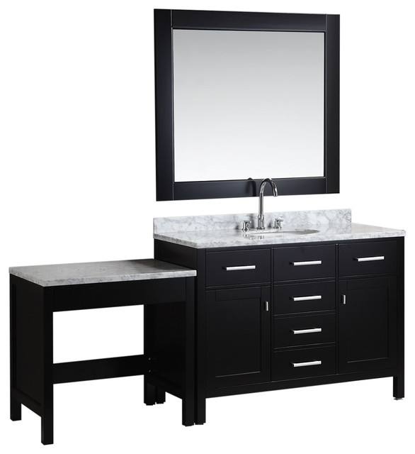 London Single Sink Vanity Set With Make Up Table Espresso 48 Transi