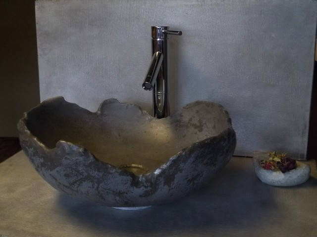 Concrete With A Modern Rustic Twist Eclectic Bathroom