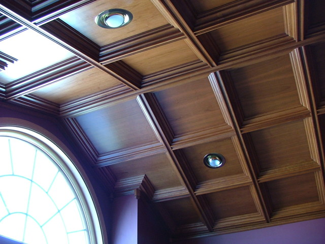 Cathedral coffered ceiling for home office traditional for Coffered cathedral ceiling