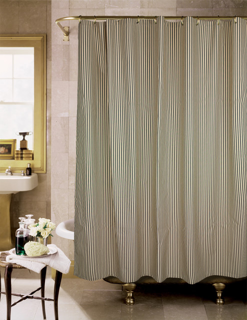 Sorrento Black And Tan Stripe Shower Curtain Contemporary Shower Curtains