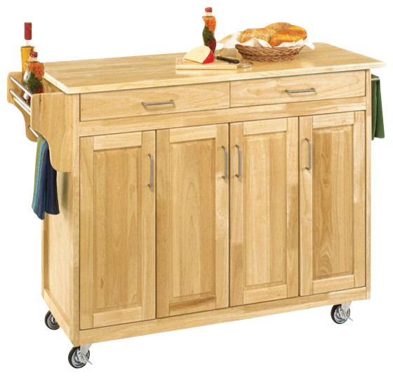 Home styles create a cart 49 inch wood top kitchen cart in for Home styles natural kitchen cart with storage