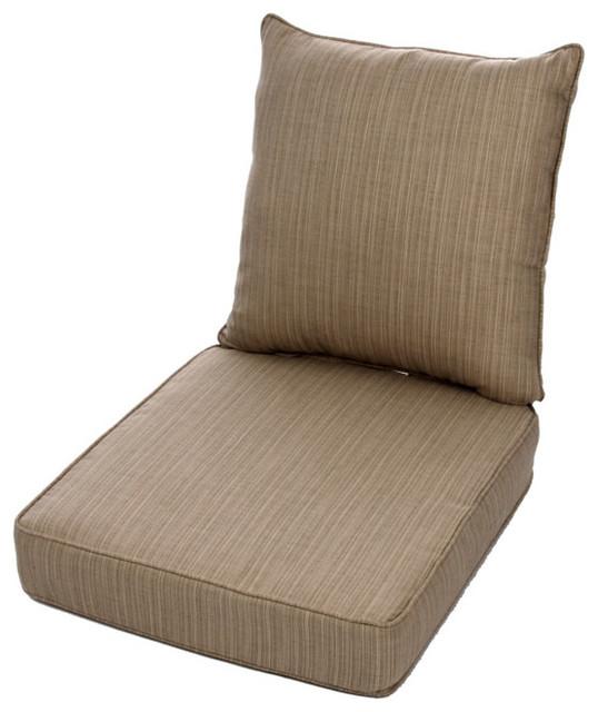 Clara Wicker Outdoor Arm Chair Cushion Throw Pillow Set With Sunbrella Fabri