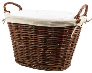 Panier linge propre en osier marron - Panier linge 3 compartiments ...