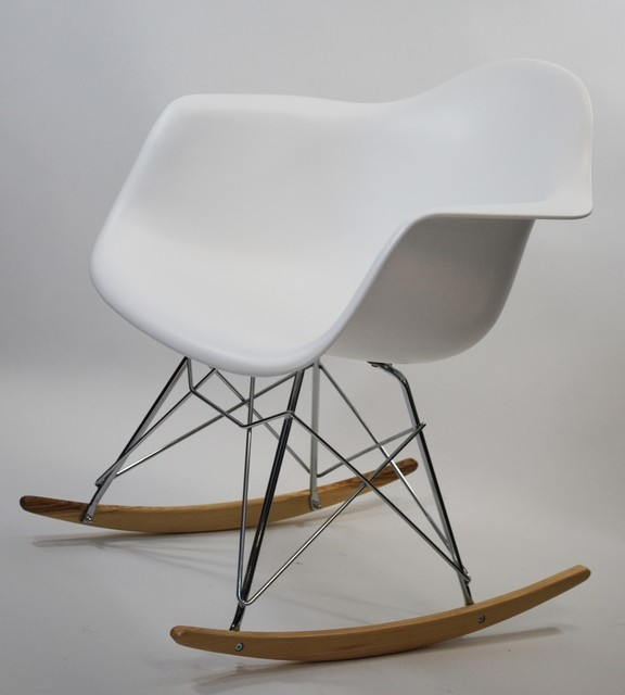 Molded White Plastic Armchair Rocker - Midcentury - Rocking Chairs ...