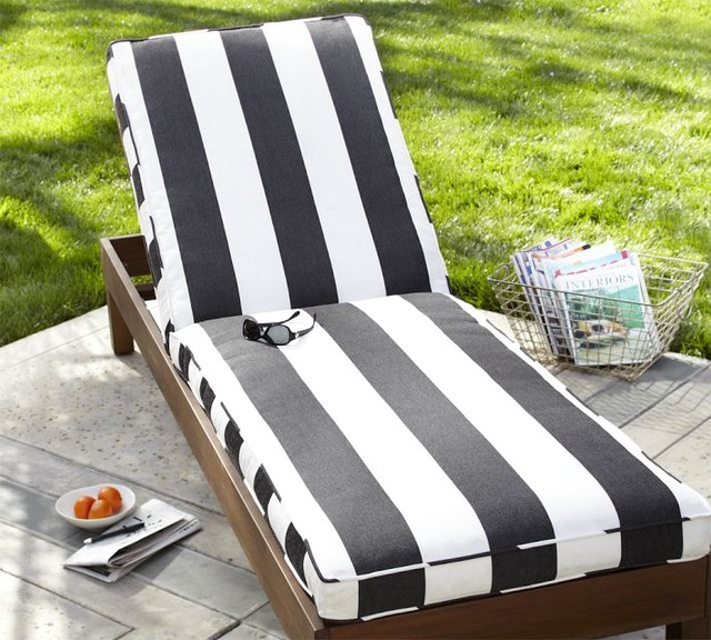 Chaise cushion black white stripe sunbrella modern for Black outdoor chaise lounge
