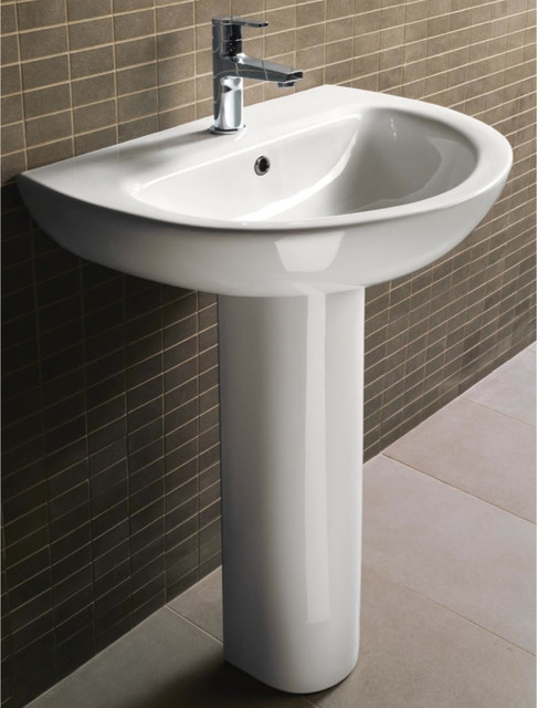 Modern Curved Ceramic Pedestal Sink By Gsi Modern Bathroom Sinks Philadelphia By