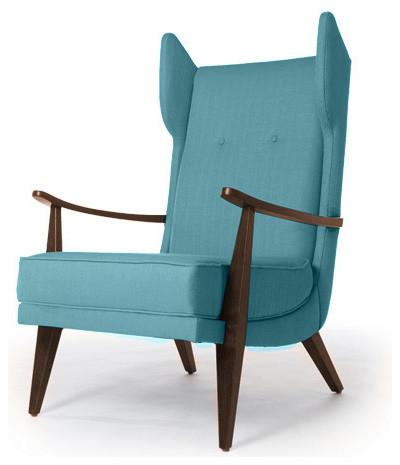Carter Mid Century Modern Chair Lucky Turquoise Blue Midcentury Armchai